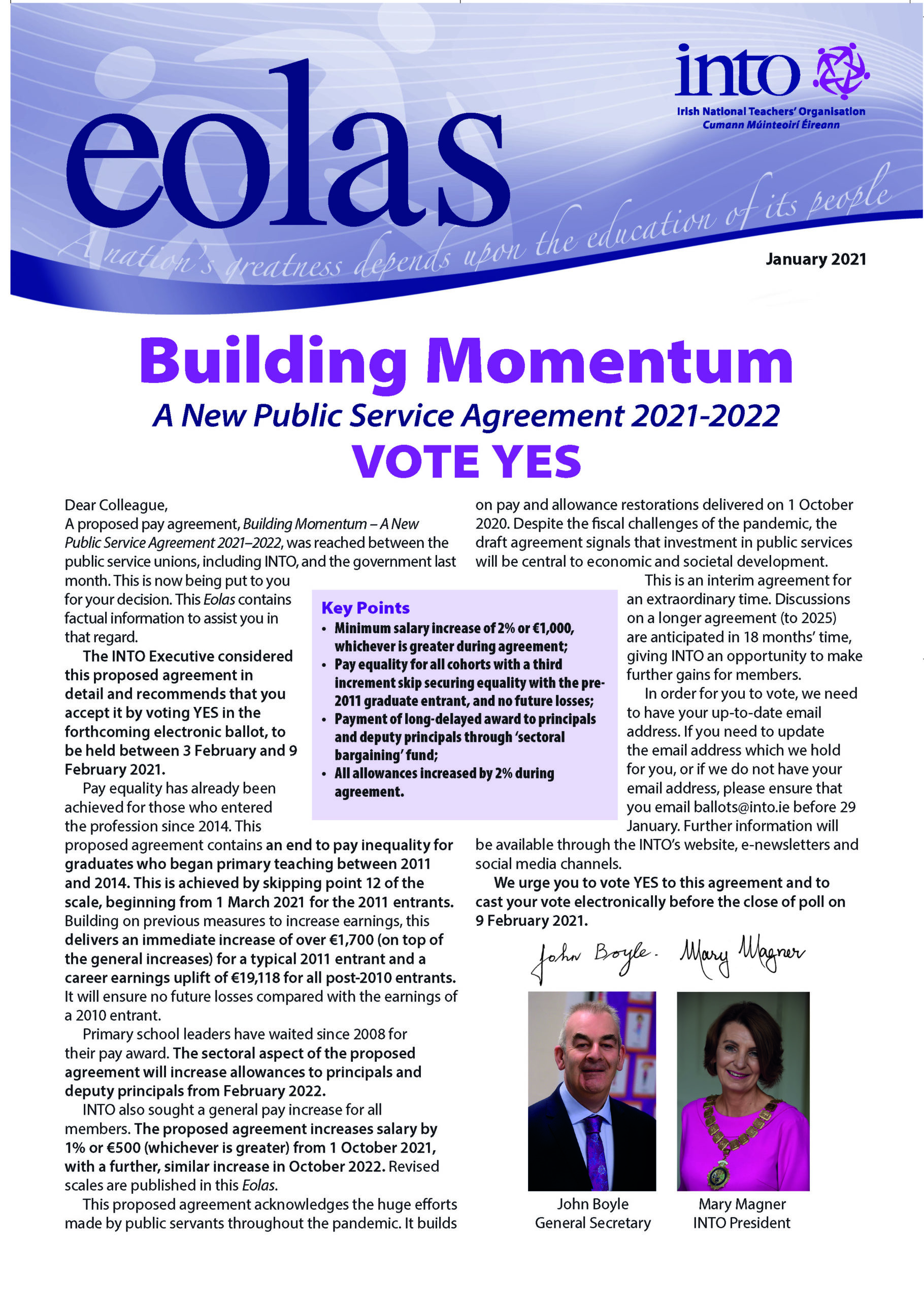 Building Momentum – A New Public Service Agreement 2021-2022